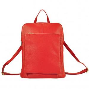 Kožený dámsky batoh Vera Pelle Lindes - červená