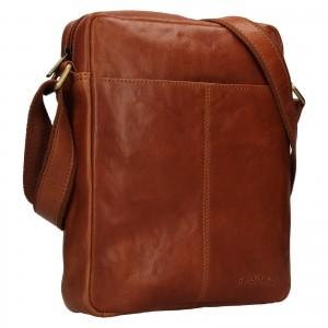 Pánska kožená taška cez rameno SendiDesign Felix - koňak