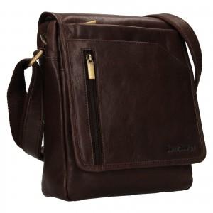 Pánska kožená taška cez rameno SendiDesign Ladis - hnedá