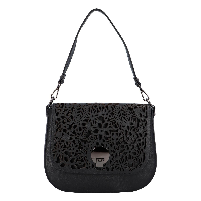 Dámska kožená kabelka Delami Camilla - čierna