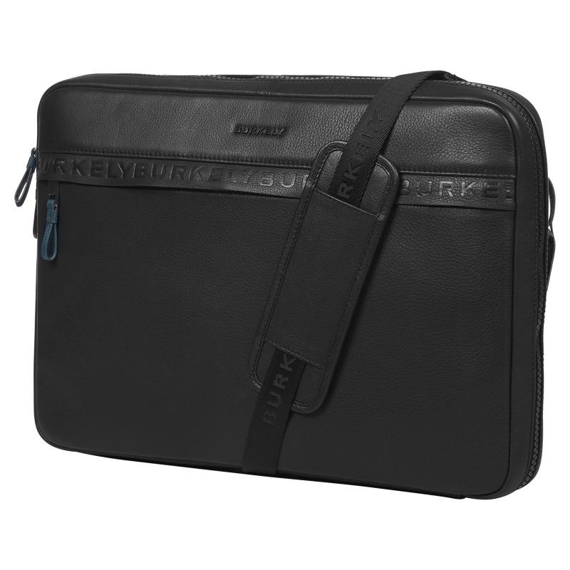 Pánska kožená taška cez rameno Burkely Bolds - čierna
