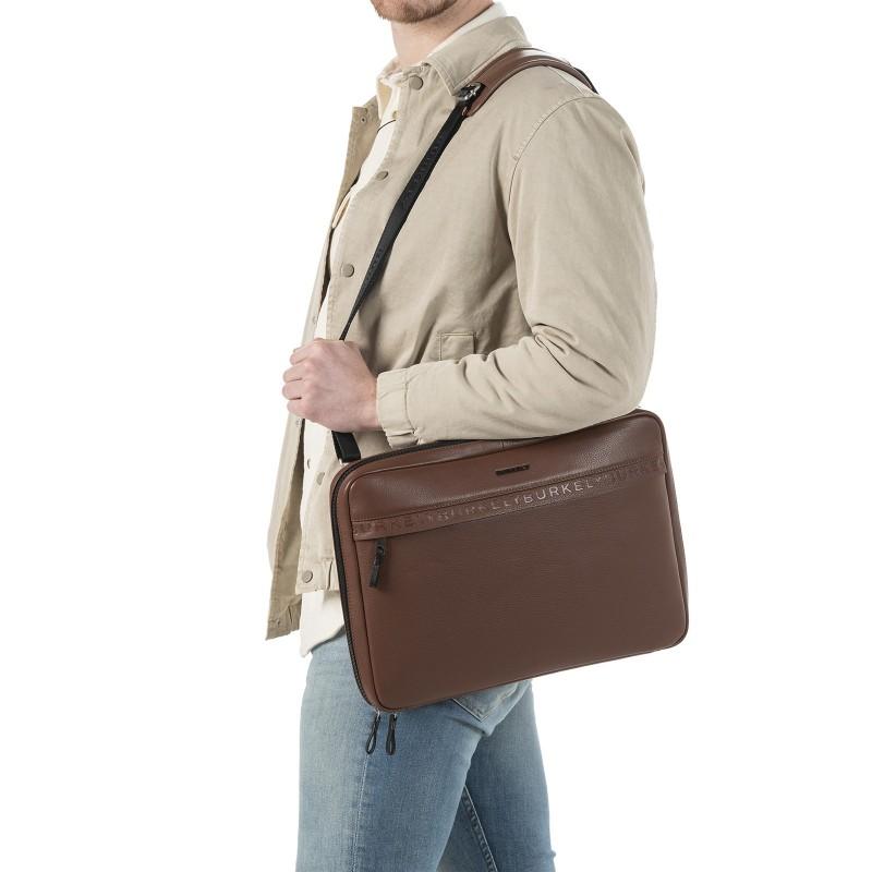 Pánska kožená taška cez rameno Burkely Bolds - koňak