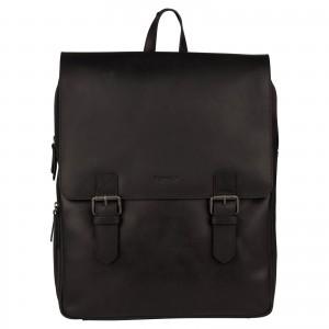 Trendy kožený batoh Burkely Amstr s powerbankou - čierna