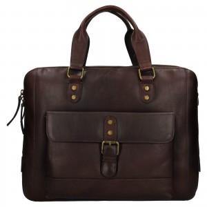 Pánska kožená taška na notebook Ashwood George - hnedá