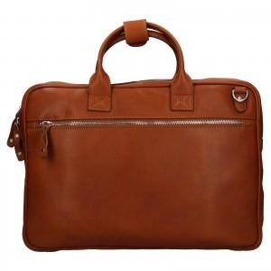 Pánska kožená taška na notebook Ashwood Oliver - koňak