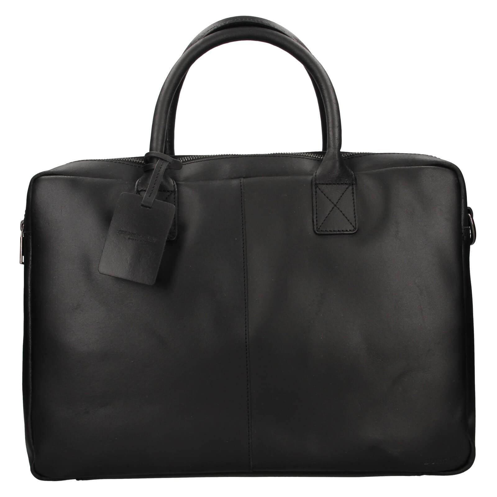 Kožená taška na notebook Burkely Taylor - čierna