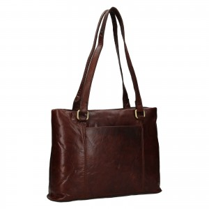 Dámska kožená kabelka Ashwood Isla - tmavo hnedá