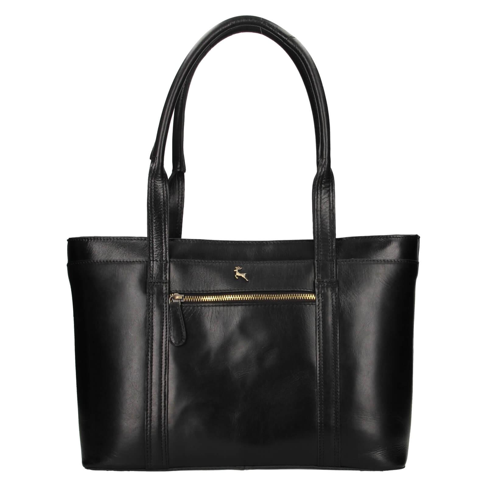 Dámska kožená kabelka Ashwood Amelia - čierna