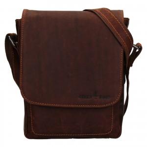 Pánska kožená taška cez rameno Greenwood Tomas- koňak