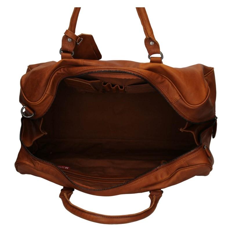 Pánska kožená cestovná taška Mustang Vojta - koňak
