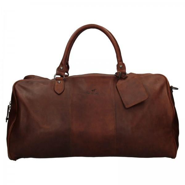Pánska kožená cestovná taška Mustang Vojta - tmavo hnedá