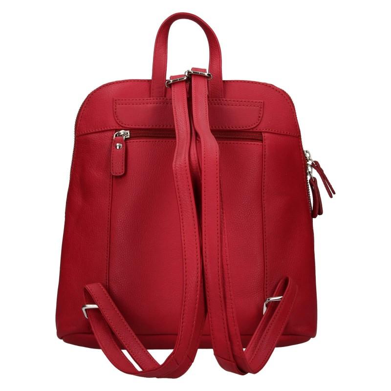 Dámsky kožený batoh Lagen Karina - červená