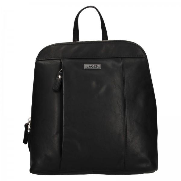 Dámsky kožený batoh Lagen Karina - čierna