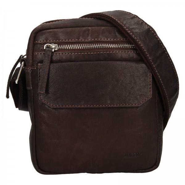 Pánska kožená taška cez rameno Lagen Jack - tmavo hnedá