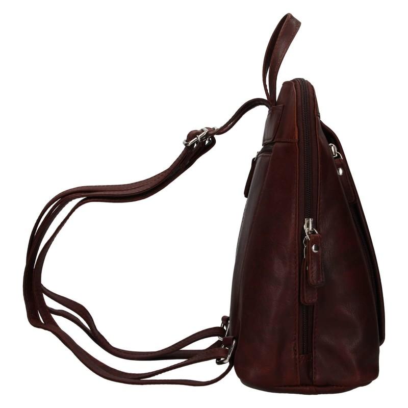 Dámsky kožený batoh Lagen Eva - tmavo hnedá