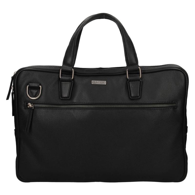 Pánska kožená business taška Lagen Porter - čierna