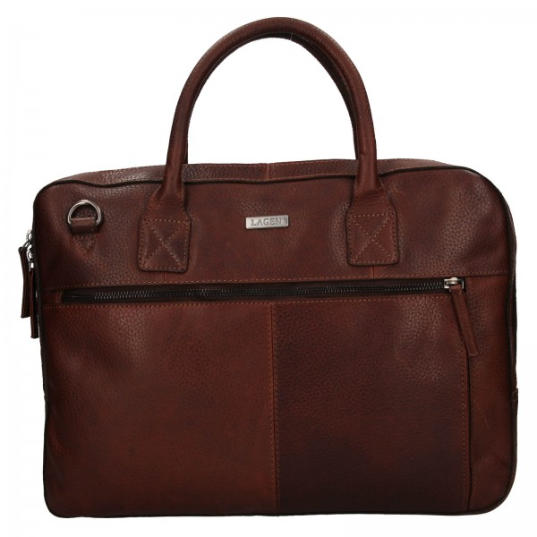 Pánska kožená business taška Lagen Daniel - hnedá