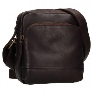 Pánska kožená taška cez rameno Ashwood Angel - tmavo hnedá