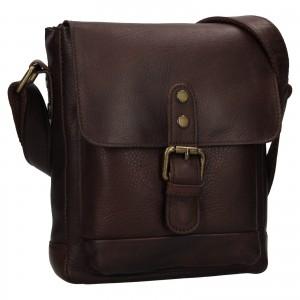 Pánska kožená taška cez rameno Ashwood Tom - tmavo hnedá