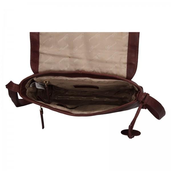 Dámska kožená crossbody kabelka Ashwood Tara - tmavo hnedá