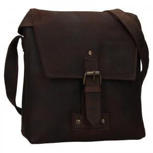 Pánska kožená taška cez rameno Ashwood Sam - tmavo hnedá
