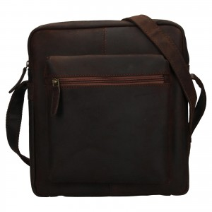 Pánska kožená taška cez rameno Ashwood Ryan - tmavo hnedá