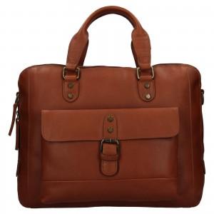 Pánska kožená taška na notebook Ashwood George - svetlo hnedá