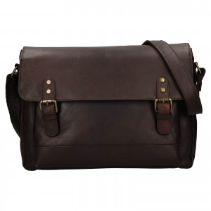 Pánska kožená taška na notebook Ashwood Noah - tmavo hnedá