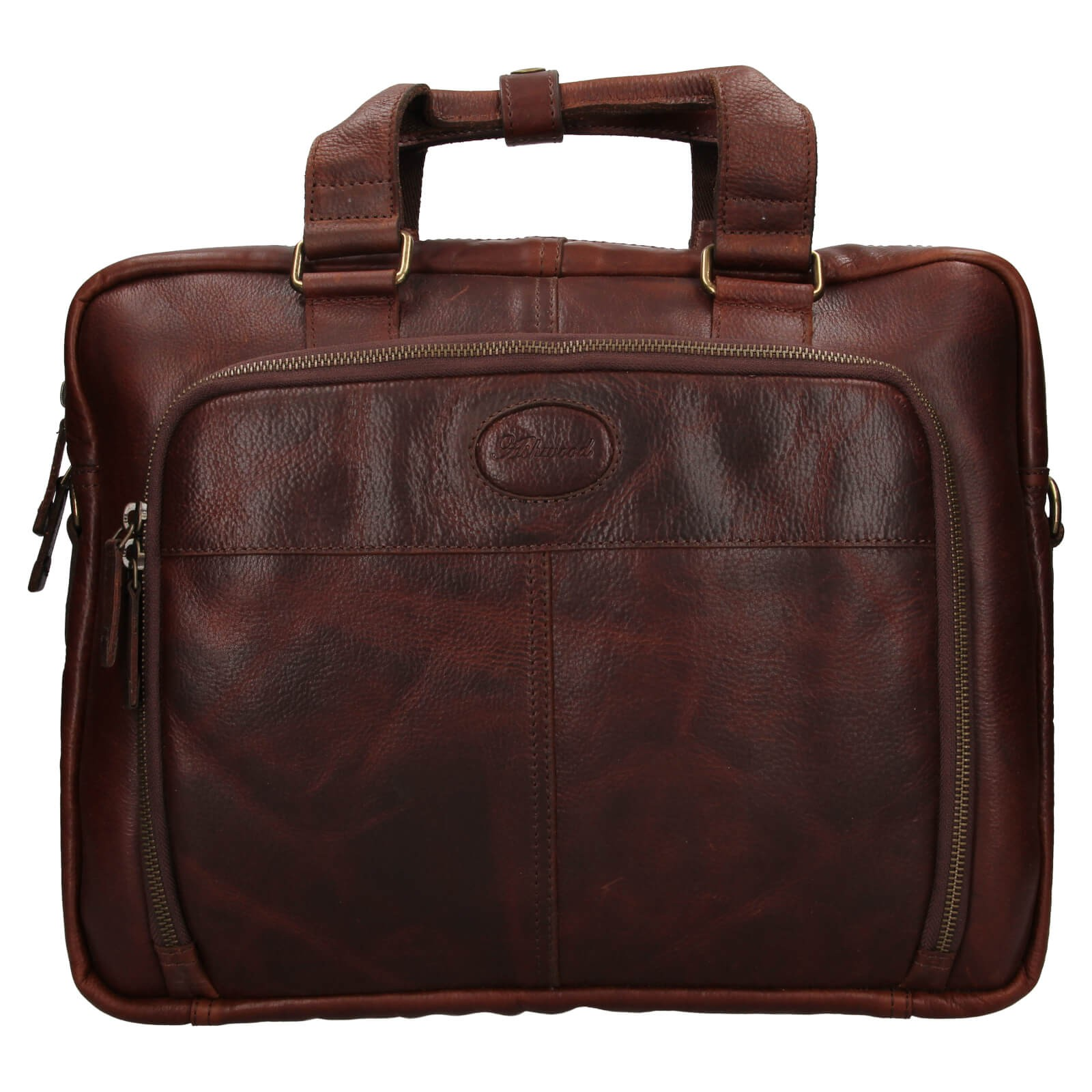 Pánska kožená taška na notebook Ashwood Bens - hnedá