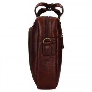Pánska kožená taška na notebook Ashwood Ben - hnedá