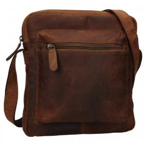 Pánska kožená taška cez rameno Ashwood Patrick - svetlo hnedá