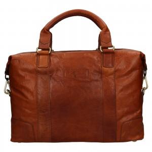 Pánska kožená taška na notebook Ashwood Ben - koňak