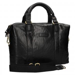 Pánska kožená taška na notebook Ashwood Ben - čierna