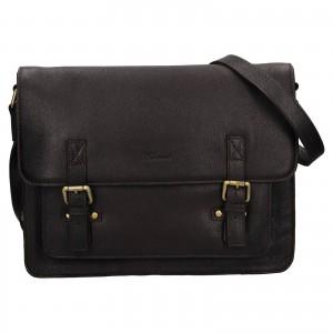 Pánska kožená taška cez rameno Ashwood Jack - tmavo hnedá