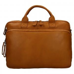 Pánska kožená taška na notebook Ashwood Dios - koňak