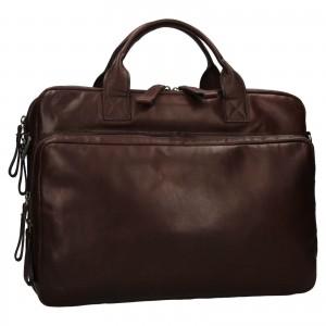 Pánska kožená taška na notebook Ashwood Dios - tmavo hnedá