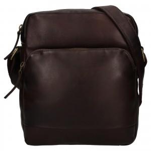 Pánska kožená taška cez rameno Ashwood Tommas - tmavo hnedá