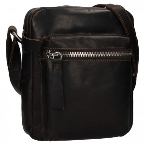 Pánska kožená taška cez rameno Ashwood Bertram - hnedá