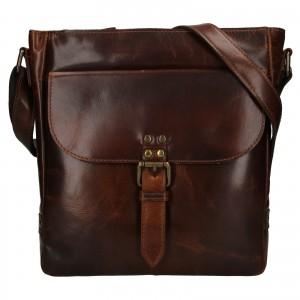 Pánska kožená taška cez rameno Ashwood Darcy - hnedá