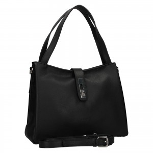 Elegantná dámska kožená kabelka Katana Cenia - čierna