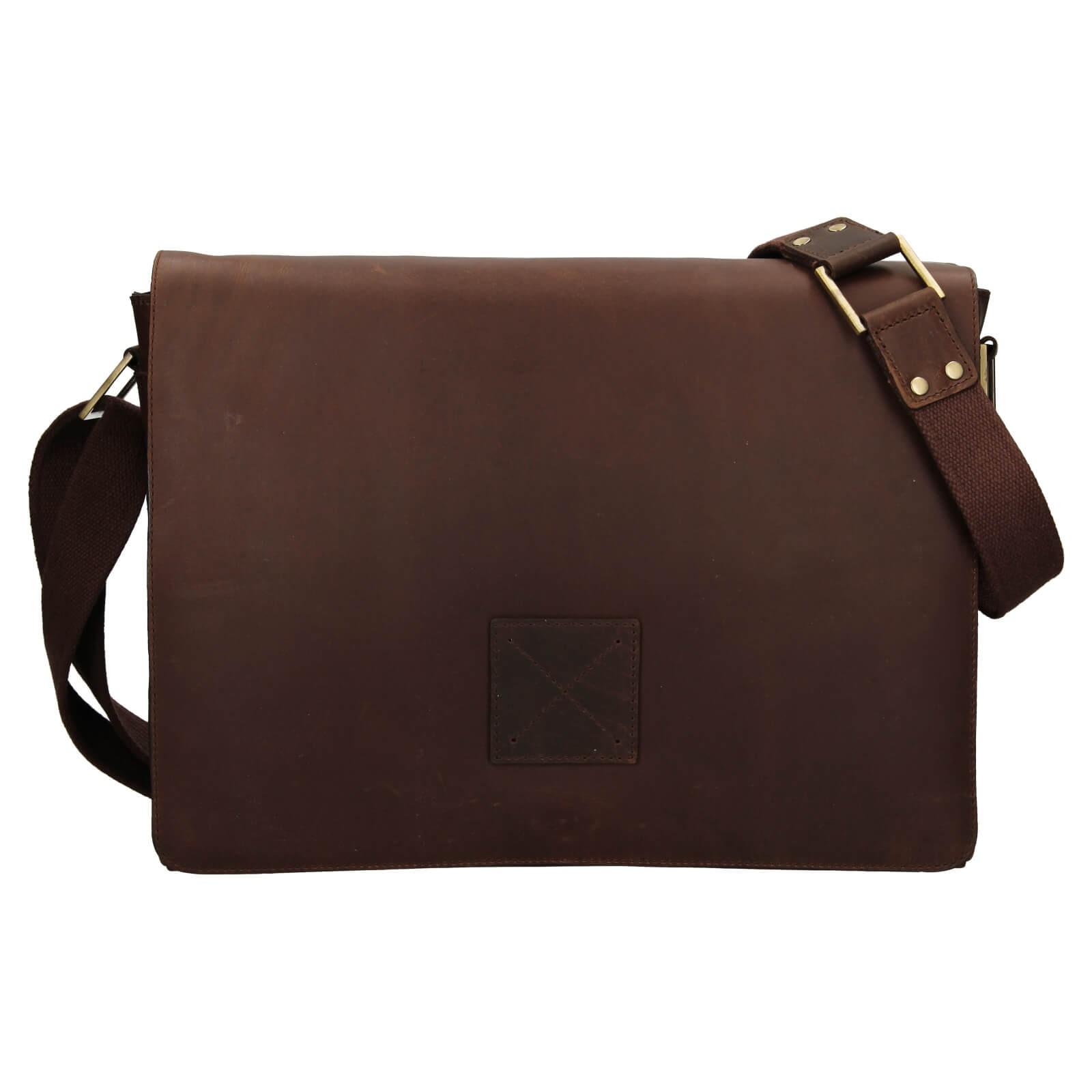 Pánska kožená taška cez rameno Ashwood Pedro - tmavo hnedá