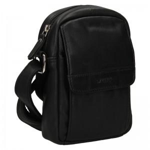 Menšie pánska kožená taška cez rameno Lagen Lenis - čierna