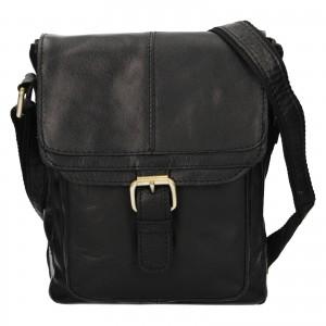 Pánska kožená taška cez rameno Ashwood Lincoln -čierna