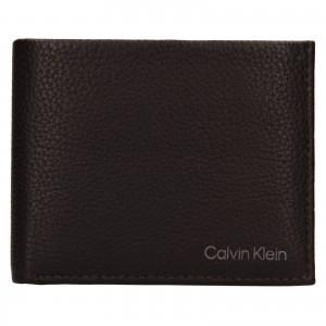Pánska kožená peňaženka Calvin Klein Delne - tmavo hnedá