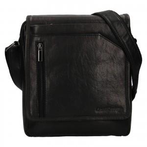 Pánska kožená taška cez rameno SendiDesign Ladis - čierna