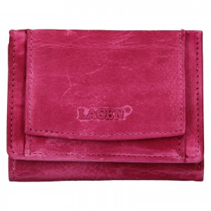 Dámska kožená slim peňaženka Lagen Déborah- ružová