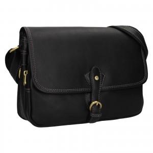 Kožená dámska crosbody kabelka Katana Greasy - čierna