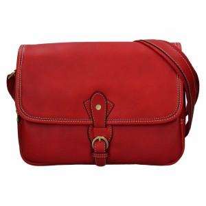 Kožená dámska crosbody kabelka Katana Greasy - tmavo červená