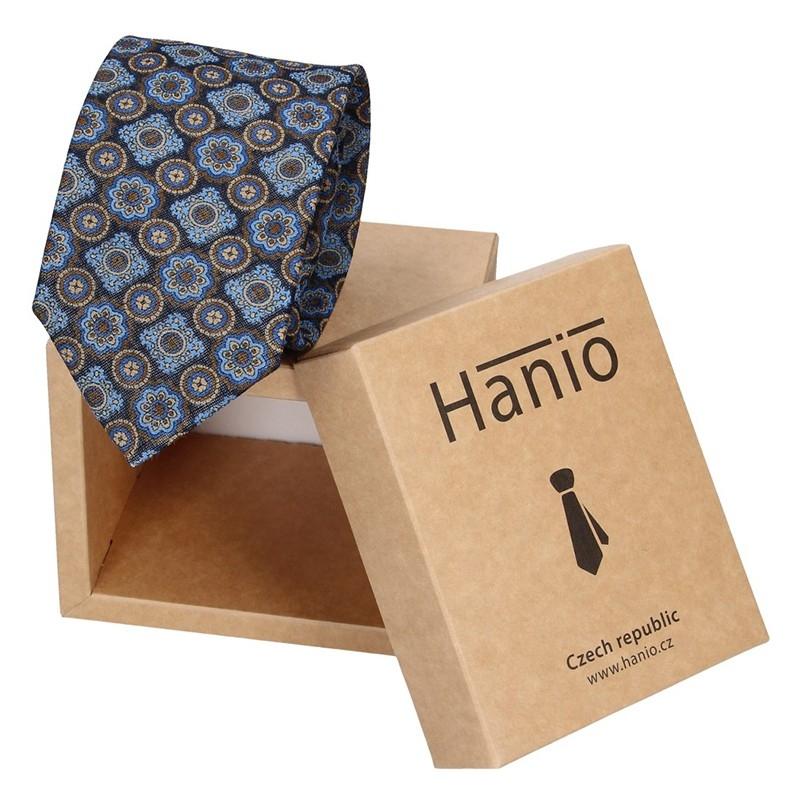 Pánska hodvábna kravata Hanio Ronald - tmavo modrá
