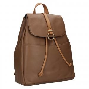 Elegantný dámsky kožený batoh Hexagon Adina - hnedá